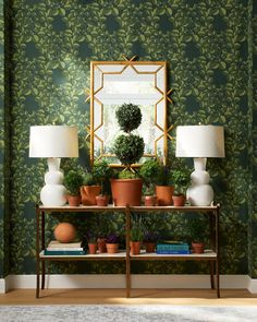 Fall decor trends include green wallpaper in the entryway - wallpaper ideas - fall decor - wallpaper ideas - floral wallpaper - design trends - entryway ideas Fall Home Decor, Autumn Home, Home Decor Trends, Decor Ideas, Wallpaper Manufacturers, Stone Coffee Table, Classic Dining Room, Autumn Decorating, Ceramic Table Lamps