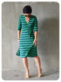 Mimi G Style: DIY Fashion Sewing: OOTD: DIY Striped Wrap Dress + Pattern Review KS 3489