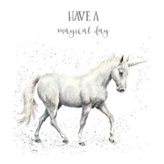 White 'Have A Magical Day' Unicorn Greeting Card - Set of Two Unicorn Birthday Cards, Unicorn Images, Unicorn Fantasy, Wrendale Designs, Watercolor Illustration, Beautiful Images, Cute Pictures, Original Artwork, Cute Animals