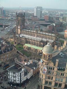 Manchester Cathedral and Shambles Square viewed from Manchester's observation wheel. March 2006.