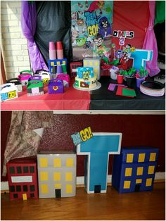 Teen Titans Go party setup with displays by me.