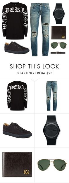 """Untitled #266"" by vinimalik ❤ liked on Polyvore featuring Topman, Yves Saint Laurent, Lanvin, Swatch, Gucci, Tiger of Sweden, men's fashion and menswear"