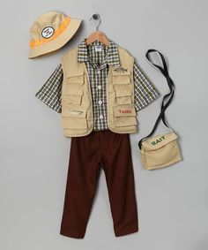 When fishing around for a fintastic outfit, this ready-to-go getup is perfect for taking a little fingerling out of water. The earth-tone pants and top boast a whopper catch of pockets and pouches for tackle and bait.