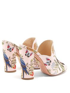 Click here to buy Aquazzura Aquazzura for de Gournay embroidered mules at MATCHESFASHION.COM