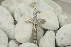 Sterling Silver Crucifix Cross Pendant, Corpus Necklace by BlueFoxy on Etsy