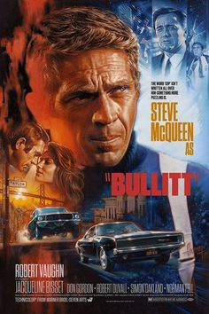 'Bullitt' by Steven Chorney Privately commissioned print through Cult Classic Prints Action Movie Poster, Best Movie Posters, Classic Movie Posters, Movie Poster Art, Classic Movies, Action Movies, Old Film Posters, Steve Mcqueen, Old Movies