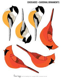 Downloadable chickadees and cardinals, ready to print, mount, and cut for Christmas ornaments. Beautifully drawn!