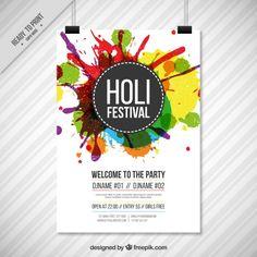 Colorido espirra cartaz Holi Festival