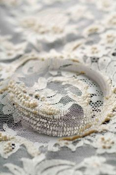 Bead embellished lace with sculptural patterns - fabric manipulation; Textiles, Fabric Manipulation Techniques, Tambour Beading, Textile Fiber Art, Clothing And Textile, Natural Forms, Fabric Art, Fabric Patterns, Textile Design