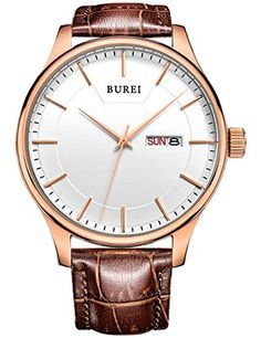 BUREI® Men's SM-13001-P05AR Day and Date Brown Calfskin Leather Watch with White Dial BUREI