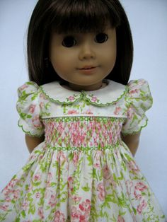 American Girl Doll Clothes Smocked Summer Dress with Embroidery. $95.00, via Etsy.