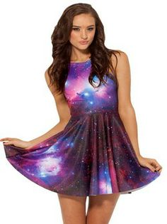 Sleeveless Painting The galaxy star Clubwear
