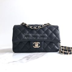 ee0160dd218213 Chanel 17B mini rectangle in black caviar leather with light gold hardware
