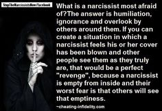 What is the Narcissist most afraid of? The answer is humiliation, ignorance, and overlooked by others around them.