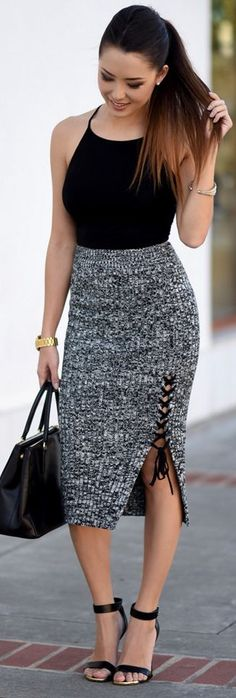 Shein Top and Skirt | Prada Bag | Pour La Victoire Heels | Dainty and Bold Earrings | Michael Kors Watch || Downtown Darling || Hapa Time #shein