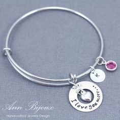 "Personalized Hand Stamped ""I Love You More..."" with Initial Bangle~"