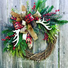 "Beauty is available now for purchase! 22"" Rustic Antler Christmas $74.99 plus shipping  www.facebook.com/holidaybaubles2 #wreath #holidaybaubles #rusticchristmas #christmasdecorations #rustic #christmaswreath #christmastime #christmasshopping"