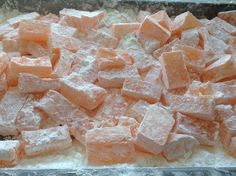 Orange blossom Turkish delight made using traditional method, (without gelatine) suitable for vegetarians.  Www.laurenskitchen.co.uk