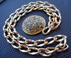 "#HandPainted #Palmwood & #Gold #Aluminum #Beach #Necklace 30"" NWOT!"