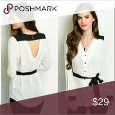Sheer top with tie Black and white sheer top V back comes with belt that can be removed. Chupchick Tops Blouses