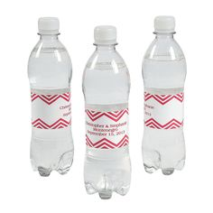 Personalized Red Chevron Water Bottle Labels - OrientalTrading.com