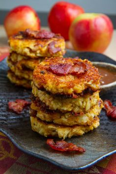Apple, Cheddar and Bacon Fritters in Caramel Sauce.  ☀CQ #party #appetizers #recipes