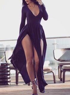 Black Prom Dress,Long Sleeve Prom Dress,Split Prom Dress,Fashion Prom Dress,Sexy Party Dress, New Style Evening Dress