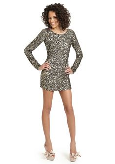 ABS by Allen Schwartz - backless long sleeve sequin dress... fabulousss!