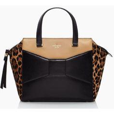 Kate Spade New York 2 Caramel and Black  'Park Avenue Beau' Bag with Leopard Print