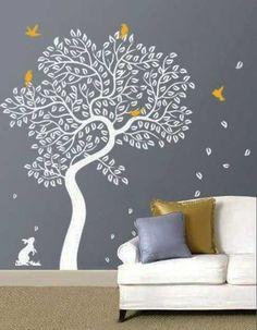 white tree on gray wall