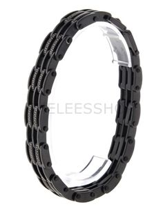 (HLBR002-BLACK) Black Railroad Fashion Logo Patched Stainless Steel Bracelet