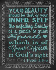 Chalkboard Quote Art Print  1 Peter 334 Gentle by 2BeeCreated, $50.00