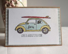 Hand made card with VW Beetle car and dog with by MaudieMaudie
