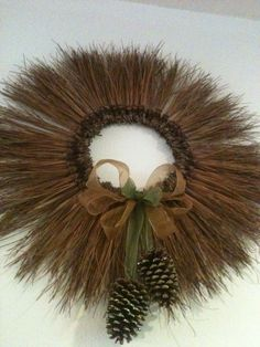 Pine needle wreath with pine cones