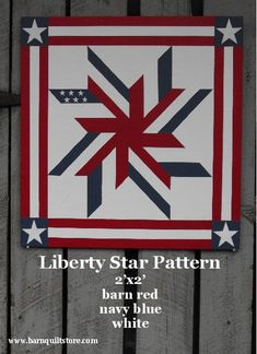 Items similar to Painted Wood Barn Quilt, Liberty Star Pattern on Etsy Flag Quilt, Patriotic Quilts, Star Quilt Blocks, Star Quilts, Barn Quilt Designs, Barn Quilt Patterns, Star Patterns, Quilting Designs, Quilting Patterns