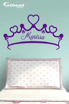 If you're looking to perfect a princess theme for your daughter's room or nursery, a Tiara personalized name wall decal from Fathead is the perfect solution. SHOP  http://www.fathead.com/home-decor-graphics/personalized-name/tiara-personalized-name-wall-decal/  | Girl Bedroom Home Decor On A Budget | Kids DIY Bedroom Decor | Peel + Stick | Fathead Wall Decals