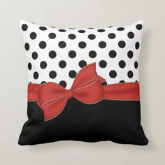 Shop Black Polka Dots Red Bow Throw Cushion created by visionsoflife. Geometric Cushions, Shiny Fabric, Decorative Pillow Covers, Decorative Cushions, Throw Cushions, Red Ribbon, Designer Pillow, Custom Pillows, Polka Dots