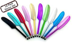 10-Pack-Feather-Stylus-for-All-Touchscreen-Devices-for-iPadiPhoneGoogle-Tablets-and-More