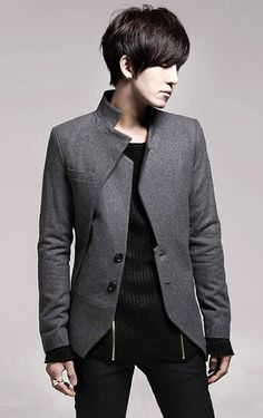 Stand Collar Long Sleeve Men Fashion Grey Casual Wool Suit M/L/XL/XXL @X170702g
