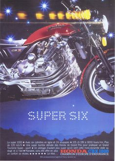 Honda Motorcycles, Cars And Motorcycles, Grand Prix, Cb 1000, Honda Cbx, Classic Bikes, Sport Bikes, Brochures, Bugatti