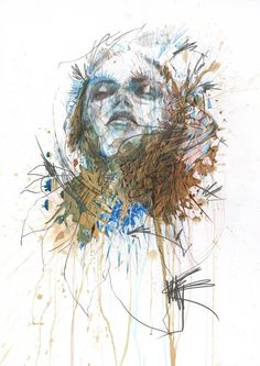 New Ink, Tea and Alcohol Portraits by Carne Griffiths - My Modern Met