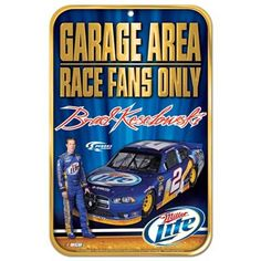 """Make sure everyone knows that your fan cave is strictly NASCAR territory when you proudly show your support for Brad Keselowski with this Reserved Parking sign. It measures 11"""" x 17"""" and features your favorite driver's name and image with a race car graphic for an undeniable presentation of your race day spirit!"""