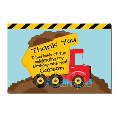 Construction Thank You Card Dump Truck Birthday Party - DIGITAL or PRINTED