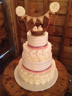 Rosettes and textured buttercream Rustic Wedding Cake, by Amy Hart