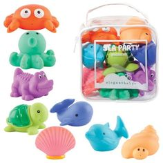 Elegant Baby Bath Time Fun Rubber Water Squirties , Animal Sea Party, Set of 8 Bath Squirt Toys Biscuit Home, Baby Bath Toys, Water Toys, Toy Organization, Baby Safety, Bath Time, Toddler Toys, Toys For Girls, Future Baby