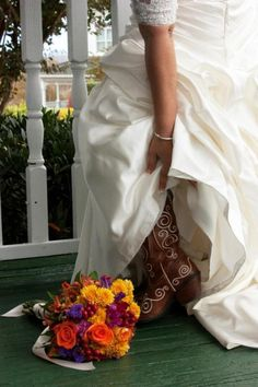 Would you wear cowgirl boots to your wedding? >> http://www.greatamericancountry.com/living/lifestyles/country-weddings-brides-in-boots-pictures?soc=pinterest