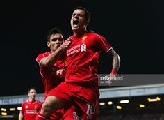 Liverpool's Brazilian midfielder Philippe Coutinho celebrates with Liverpool's French defender Mamadou Sakho after scoring their first goal during the UEFA Europa League round of second leg. Liverpool Live, Liverpool Football Club, Dejan Lovren, Brendan Rodgers, Blackburn Rovers, English Premier League, Team Player, Europa League, Fa Cup