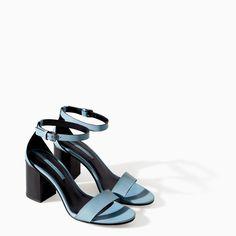 LEATHER WIDE HEEL SANDAL - Shoes - WOMAN - SALE | ZARA Taiwan