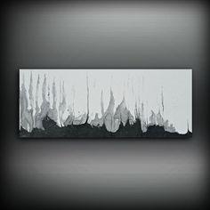 Pintura plata de blanco y negro 16 x 40 acrílico