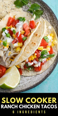 These Slow Cooker Chicken Tacos are seasoned with salsa verde, ranch and lime juice! This zesty crock pot chicken is perfect for tacos, quesadillas and more! Chicken Ranch Tacos, Slow Cooker Chicken Tacos, Slow Cooker Chili, Best Slow Cooker, Slow Cooker Recipes, Crockpot Recipes, Healthy Recipes, Easy Recipes, Eat Healthy